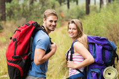 Portrait of a smiling hiker couple Royalty Free Stock Images