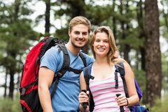 Portrait of a smiling hiker couple Royalty Free Stock Image