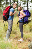 Portrait of a smiling hiker couple Stock Image