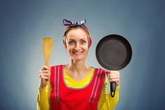 Portrait of smiling housewife Stock Photos
