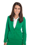 Portrait of a smiling isolated businesswoman wearing green blaze. Portrait of a successfu elegant isolated businesswoman wearing green blazer Stock Images