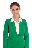 Portrait of a smiling isolated businesswoman wearing green blaze. Portrait of a smiling successful isolated businesswoman wearing green blazer Stock Images
