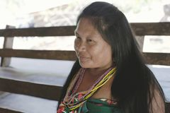 Portrait of smiling Katío Indian woman from the Embera Drua Village Royalty Free Stock Image