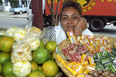 Portrait smiling Latino market vendor, Managua Royalty Free Stock Image