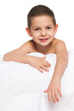Smiling  little boy on the white Royalty Free Stock Photos
