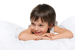 Smiling little boy on the white Royalty Free Stock Photography