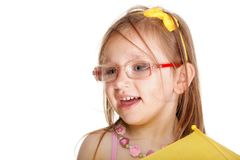 Portrait smiling little girl in glasses isolated Stock Photo