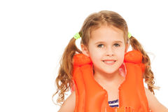 Portrait of smiling little girl in lifejacket. Portrait of smiling little girl in orange lifejacket isolated on white Royalty Free Stock Photo