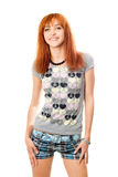 Portrait of smiling lovely red-haired girl Stock Photography