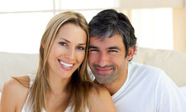 Portrait of smiling lovers Stock Photos