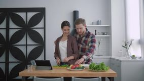 Portrait of smiling loving couple in cuisine, happy girl with guy prepares healthy food for dinner with fresh vegetables stock footage