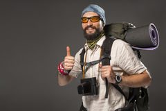 Portrait of a smiling male fully equipped tourist Stock Images