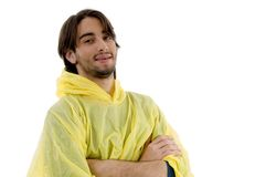 Portrait of smiling male with raincoat Royalty Free Stock Images