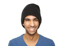 Portrait of a smiling man with black hat i Royalty Free Stock Photo