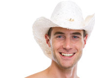 Portrait of smiling man in hat Stock Images