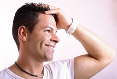 Portrait of smiling man stock photos