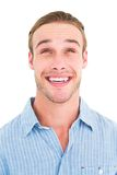 Portrait of smiling man in shirt looking up Stock Photos