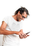 Portrait of a Smiling  Man with Smartphone Stock Image