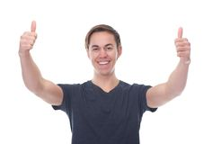 Portrait of a smiling man with thumbs up Stock Photography