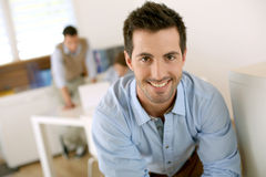 Portrait of smiling man at work stock photography