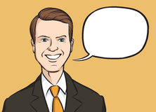 Portrait of a smiling manager with speech balloon. Vector illustration of portrait of a smiling manager with speech balloon. Easy-edit layered vector EPS10 file Royalty Free Stock Photography