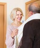 Portrait of smiling mature spouses Stock Photo