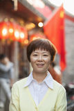 Portrait Of Smiling Mature Woman In Houhai, Beijing Stock Photography