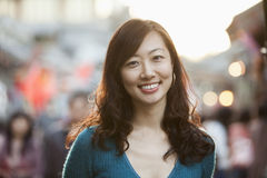 Portrait Of Smiling Mid Adult Woman In Houhai, Beijing Royalty Free Stock Photography