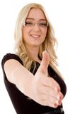 Portrait of smiling model offering handshake Stock Photo