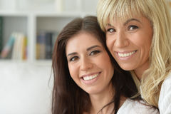 Portrait of smiling mother and daughter. Close up Stock Photo