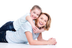 Portrait of smiling mother and young daughter Royalty Free Stock Image