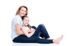 Portrait of smiling mother and young daughter Stock Image