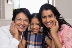 Portrait of smiling multi-generation family. At home royalty free stock photos