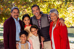 Portrait of smiling multi-generation family at park Royalty Free Stock Photography