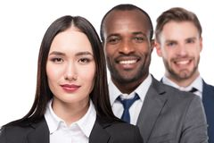 portrait of smiling multicultural young business people royalty free stock images