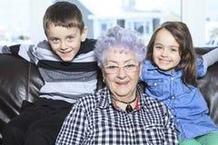 Portrait of smiling multigeneration family Stock Photos