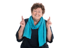 Portrait: smiling older woman isolated over white. Royalty Free Stock Images