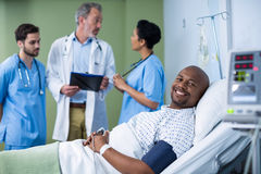 Portrait of smiling patient in ward Stock Images