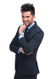 Portrait of a smiling and pensive business man Royalty Free Stock Images