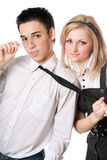 Portrait of smiling playful student pair. Isolated Stock Images