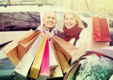 Portrait of smiling pleasant mature couple standing Royalty Free Stock Image