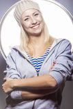 Portrait of Smiling Positive Caucasian Blond Female Posing Again Royalty Free Stock Photography