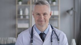 Portrait of Smiling Positive Doctor with Grey Hairs stock video