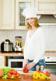 Portrait of a smiling pregnant woman cooking in her kitchen Royalty Free Stock Photo