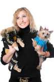 Portrait of smiling pretty blonde with two dogs Stock Photography