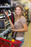 Portrait of smiling pretty blonde woman buying products Royalty Free Stock Images