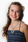 Portrait of a smiling pretty young girl. With long ringlets hair Stock Image