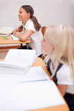 Portrait of smiling pupils during a lesson. In a classroom Royalty Free Stock Images