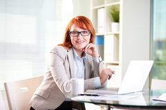 Lady on reception Stock Photography