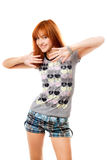 Portrait of smiling red-haired girl Royalty Free Stock Photos